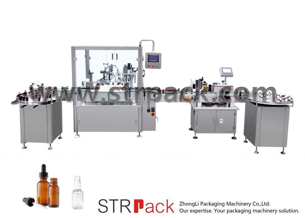 Automatinis lašintuvų buteliukų pildymo ir užkimšimo aparatas