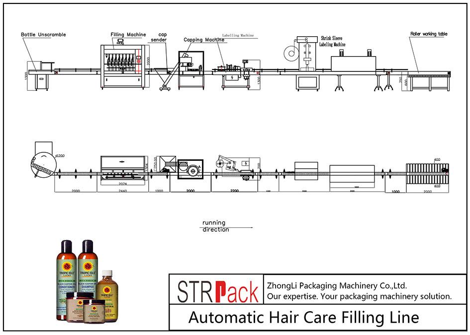 Automatinė plaukų priežiūros užpildymo linija
